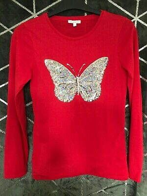 Blue Zoo Red Colour T-shirt 100% Cotton Butterfly Design On Front Age 12-13  • 13£