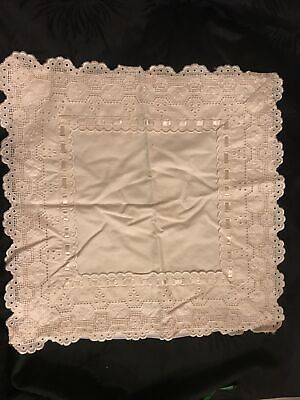 """Beautiful Vintage Cream Lace Broderie Ribbon  Cotton Square Cushion Cover 17"""" • 18£"""