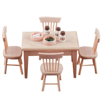 AU13.88 • Buy 1Set Dining Table Chair Model 1:12 Dollhouse Mini Wooden Furniture Toy Se KT