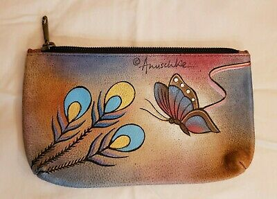 $30 • Buy  Anuschka Leather Peacock Butterfly Cosmetic Bag/Coin Purse - New