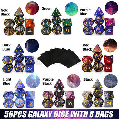 AU24.99 • Buy 56pcs/Set Multi Sided Galaxy Style Polyhedral Dice For Dungeons & Dragons AU