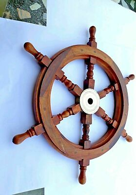 £27 • Buy Nautical Wooden Wheel Pirate Wooden 18 Inch Brass Ship Steering Wall Decor Boat