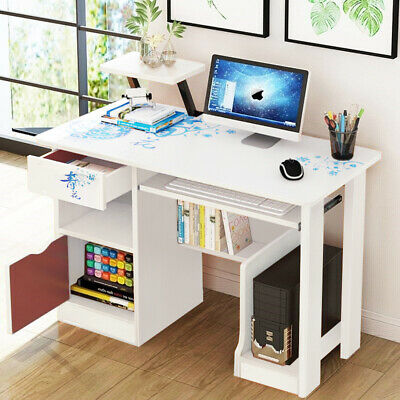 Computer Table Home Office PC Laptop Workstation Cabinet Storage Writing Desk UK • 65.99£