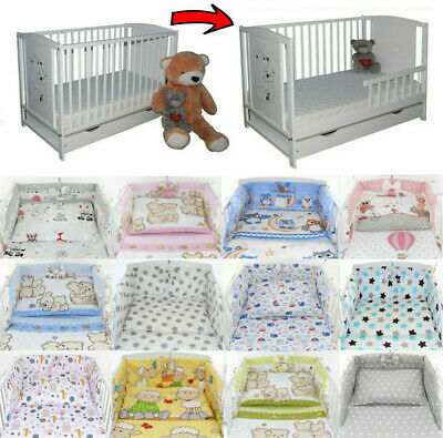 £137.99 • Buy Baby Cot Bed + Drawer + Toddler Barrier + 6-Pcs Bedding 60 Colours + Mattress
