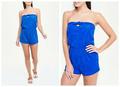 £7.99 • Buy P Matalan Bandeau Blue Towelling Playsuit Beach Holiday Pool Side  S M L (ST71)
