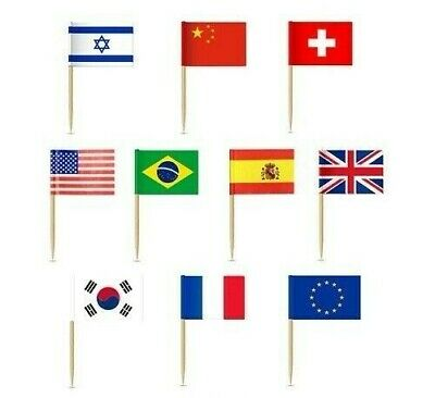 £4.99 • Buy 50 Mini Flags Countries Cupcake Toppers Food Picks Eurovision Party Tableware