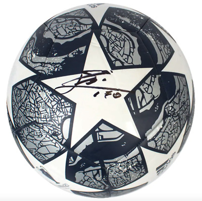 AU1349 • Buy Lionel Messi Barcelona Signed Silver And White 2019-2020 UEFA Champions Ball