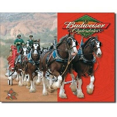 $ CDN13.30 • Buy Anheuser Busch Budweiser Beer Bud Clydesdales Horses Retro Vintage Tin Sign New