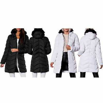 Ladies Women Winter Jacket Outwear Faux Fur Hooded Collar Puffa Padded Long Coat • 27.99£