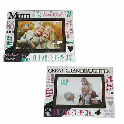 £6.79 • Buy Glass 6 X 4 Photo Frame With Mirror Glass / Colourful Letters - Choose Design