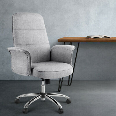 AU169.69 • Buy Artiss Fabric Office Chair Task Side Conference Computer Desk Chairs Seat Grey