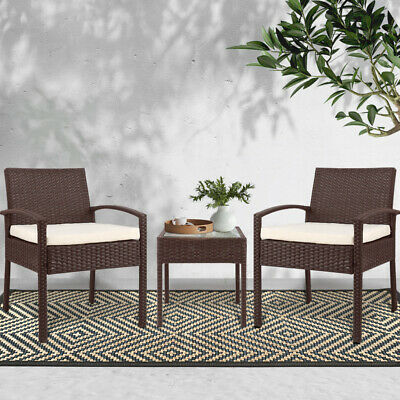 AU167.75 • Buy Gardeon Outdoor Furniture 3 Piece Wicker Chairs Set Lounge Setting Patio Cushion