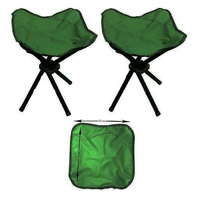 Set Of 2 Portable Folding Outdoor Camping Hiking Fishing Stool Chair Table Seat • 8.95£