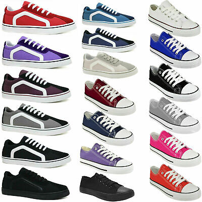 Womens Canvas Shoes Ladies Girls Trainers Casual Plimsolls Lace Up Flat Pumps • 11.99£
