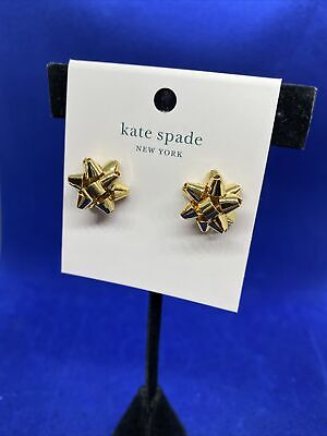$ CDN33.69 • Buy Kate Spade Bourgeois Gold Bow Studs O0RU1068 Gold-tone New With Tag