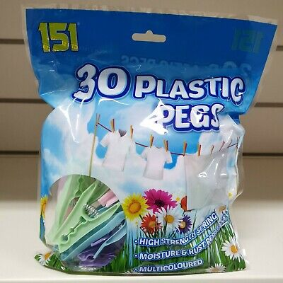£3.99 • Buy 30 Strong Durable Coloured Plastic Pegs Clothes Laundry Washing Line Rust-Free