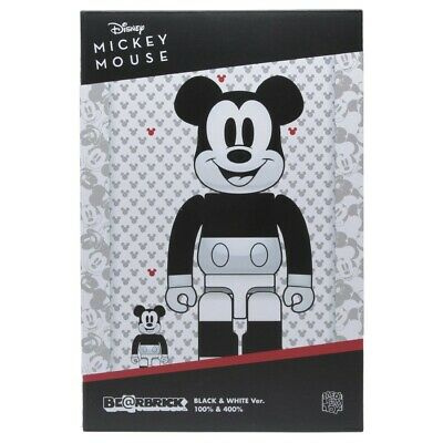 $180 • Buy Medicom BE@RBRICK Disney Mickey Mouse B&W 2020 Ver. 100% 400% Bearbrick Set