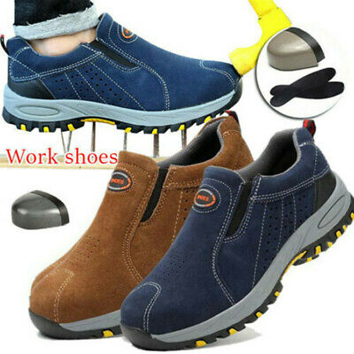 AU31.15 • Buy AU Men's Steel Toe Safety Boots Slip On Work Shoes Leather Breatha