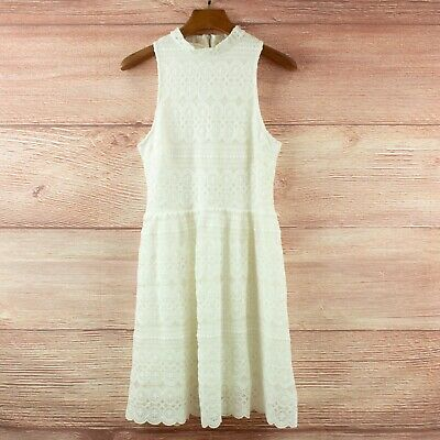 AU35 • Buy Forever New Dress - White Lace Sleeveless High Neck Fit And Flare Dress Size 10