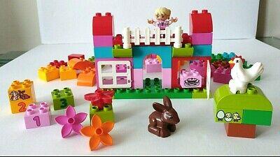 Duplo 10571 All-In-One-Pink-Box-Of-Fun Complete Set Girls Rabbit House Starter • 17.95£