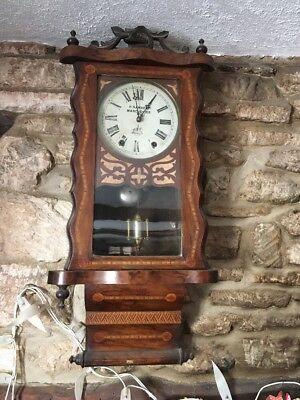£125 • Buy 19c Antique American 8 Day Wall Clock Parquetry Inlaid Case H Samuel Manchester