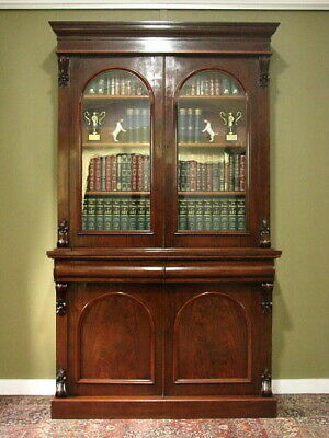 AU1850 • Buy ANTIQUE 2 HEIGHT MAHOGANY BOOKCASE DISPLAY STORAGE CABINET ~ FINE CARVING C1880s
