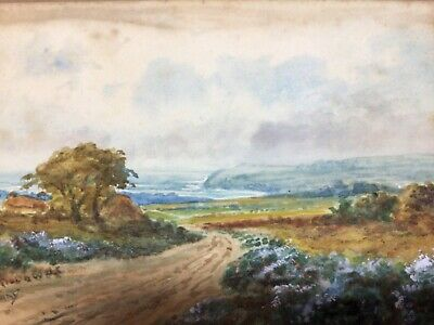 LIZARD DOWNS (Cornwall) 1914 Antique Watercolour Painting Signed Landscape & Sea • 19.99£