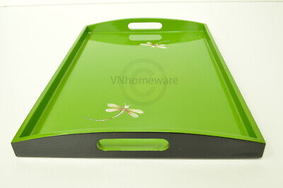 Lacquer Wooden Rectangular Tray, Serving & Decorative Tray, Green, Large H057L • 32.99£