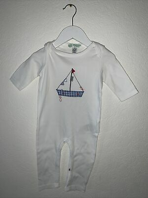 £6.50 • Buy Baby All In One Suit White Hand Embroided Fishing Sail Boat (3-6 Months)