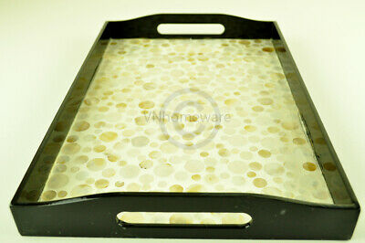 Lacquer Inlaid Wooden Rectangular Tray, Serving Decorative, Cream, Large H061L • 30.99£