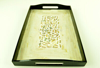 Lacquer Inlaid Wooden Rectangular Tray, Serving Decorative, Cream, Small H063S • 24.99£