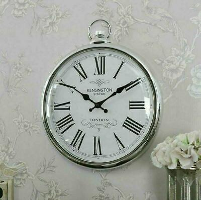 Large Wall Clock Pocket Fob Watch Round Vintage Retro Decor Style Silver 42cm • 22.99£
