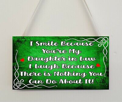 £4.49 • Buy Daughter In Law Funny Plaque Gift I Smile Because You're My Daughter In Law