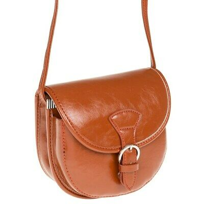 Small Vintage Style Tan Pu Faux Leather Crossbody Saddle Bag New • 12.95£