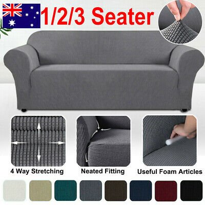 AU20.89 • Buy Premium Form Fitted Stretch Couch Sofa Cover Lounge Chair Slip Covers Protector