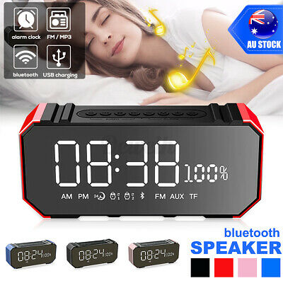 AU16.97 • Buy 7 In1 LED Mirror Digital Alarm Clock Wireless Bluetooth Speakers MP3 FM Radio AU