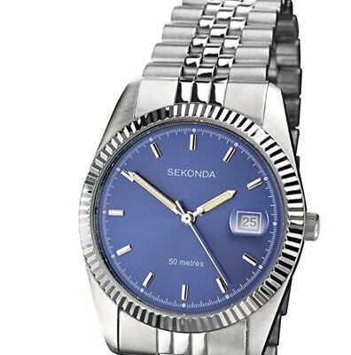 Sekonda Men Quartz Watch With Blue Dial Analogue Display Silver Stainless  1079 • 24.99£
