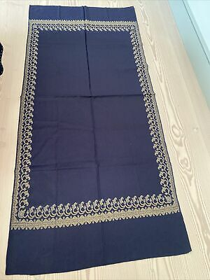 £25 • Buy Indian Shawl Kashmiri Style Embroidered Navy Wool