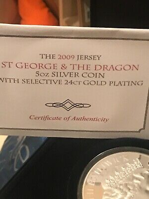 £255 • Buy Rare 2009 Jersey St George And The Dragon 5oz Silver Proof Coin