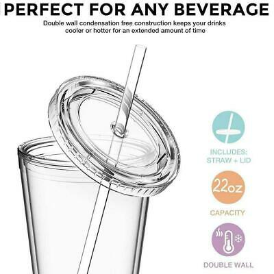 1 X Double Walled Cup Plastic Clear With Lid And Straw Drinks Insulated R2A9 • 5.53£
