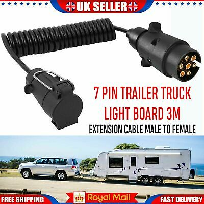 New 7 Pin Trailer Light Board Extension Cable Lead Plug Socket Caravn Towing Wir • 9.99£
