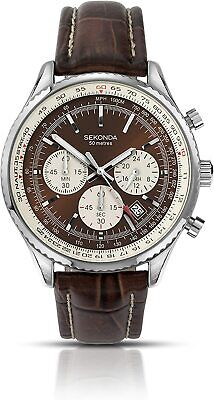 Sekonda Men's Quartz Watch With Brown Dial Chronograph Display And Brown Leather • 62.85£