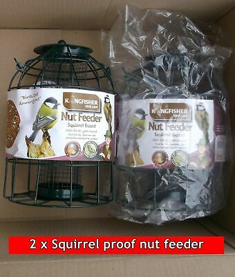 2x Caged Nut Feeders Squirrel Pigeon & Large Bird Proof. Peanut Small Wild Food  • 15.94£