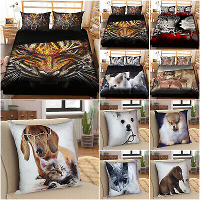 4 Piece Animal Print Duvet Cover Double & King Complete 3D Bedding Comforter Set • 5.95£