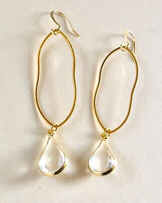 $ CDN13.87 • Buy New Gold Plated Clear Teardrop  Earrings + Free Anthropologie Gift Bag