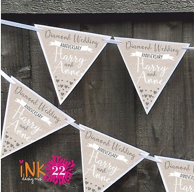 Personalised Diamond 60th Wedding Anniversary Party Decoration Banner Bunting • 4.97£