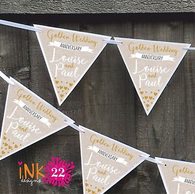 Personalised Golden 50th Wedding Anniversary Party Decoration Banner Bunting • 4.97£