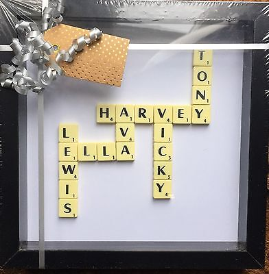 Black Frame Family Scrabble Tile Picture Stunning Can Be Personalised • 20£