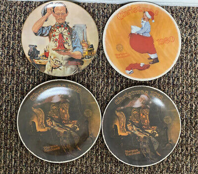 $ CDN14.56 • Buy 4 Norman Rockwell Plates Christmas Dream (2) Inventor Scotty Plays Santa