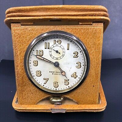 AU127.67 • Buy New Haven 8 Day Mechanical Wind Travel Clock Leather Case Runs Needs Service